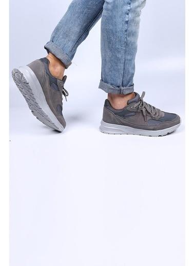 Krähe Gri Hakiki Deri Sneaker Gri